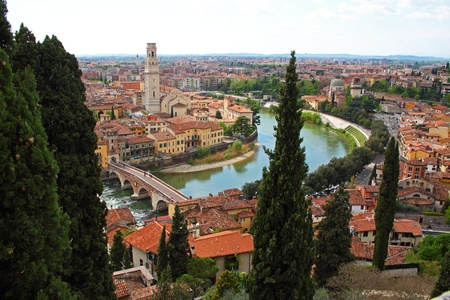Panoramic view of Verona, Italy (are visible the Old Bridge and the Duomo) Stock Photo