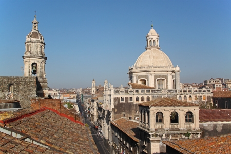 Cityspace of Catania (Sicily, Italy) with the Cathedral of Catania