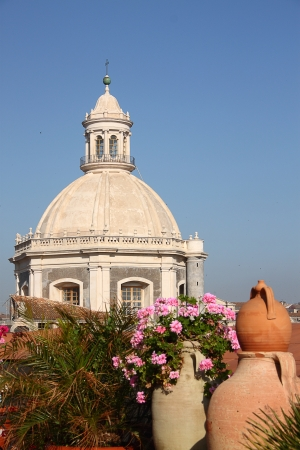 Cityspace of Catania (Sicily, Italy) with the Dome of Cathedral of Catania photo