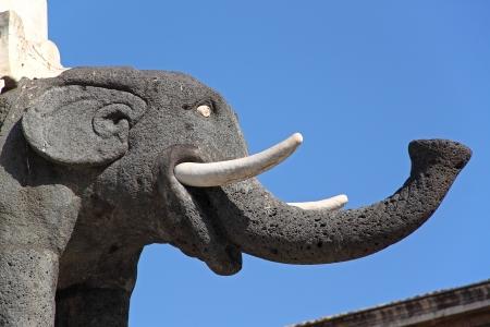 Statue of the Elephant, built in lava stone, symbol of Catania, Sicily, Italy Stock Photo - 13613463