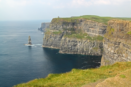 moher: The Cliffs of Moher (Ireland) on a day of mist Stock Photo