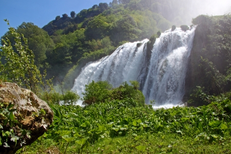 View of Marmores Falls (Umbria, Italy), one of highest waterfall of Europe (165m)