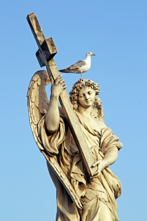 A marble statue of an Angel near Saint Angel Bridge in Rome, with a cross in arms and a seagull on the head Stock Photo - 16900613