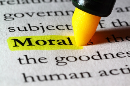 Word moral highlighted with a yellow marker Stock Photo - 17174303