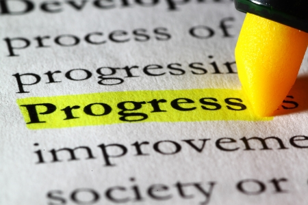 Word progress highlighted with a yellow marker Stock Photo - 17174308