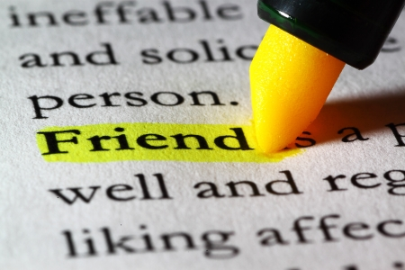 Word friend highlighted with a yellow marker Stock Photo - 17174306