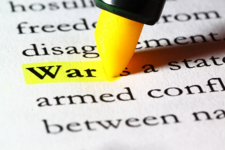 Word war highlighted with a yellow marker Stock Photo - 17174298
