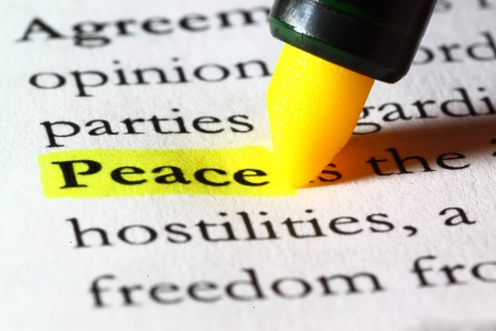 Word peace highlighted with a yellow marker Stock Photo - 17174297