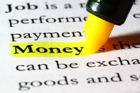 Word money highlighted with a yellow marker Stock Photo - 17174287