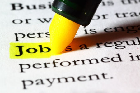 Word job highlighted with a yellow marker Stock Photo - 17174286