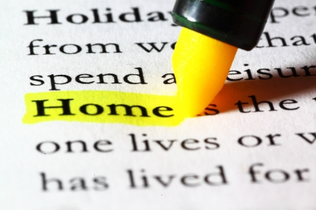 Word home highlighted with a yellow marker Stock Photo - 17174285