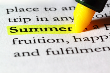 Word summer highlighted with a yellow marker Stock Photo - 17174291