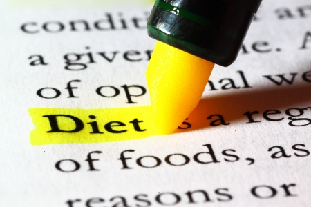 Word diet highlighted with a yellow marker Stock Photo - 17174299