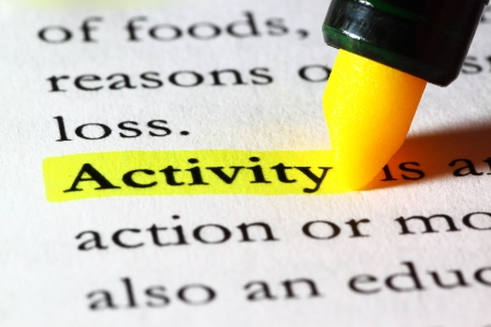 Word activity highlighted with a yellow marker Stock Photo - 17174307