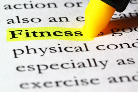 Word fitness highlighted with a yellow marker Stock Photo - 17174290