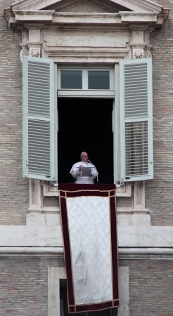 oration: Pope Francis I, born Jorge Mario Bergoglio, during the first angelus prayer at the Vatican, 17th March 2013