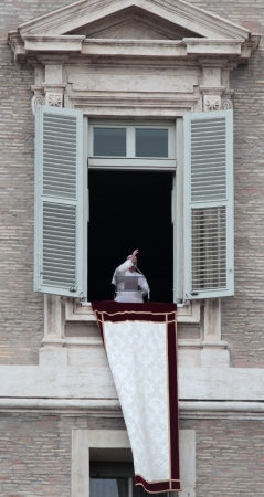 Pope Francis I, born Jorge Mario Bergoglio, during the first angelus prayer at the Vatican, 17th March 2013 Stock Photo - 18479109