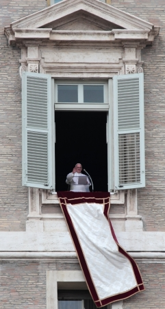 Pope Francis I, born Jorge Mario Bergoglio, during the first angelus prayer at the Vatican, 17th March 2013