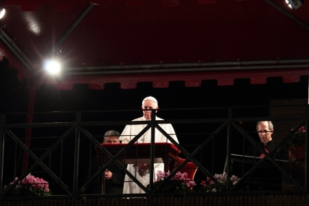 29th March 2013, Colosseum Square, Rome: The Pope Francis I is chairing the Stations of the Cross on Good Friday under the canopy set up in Colosseum Square.