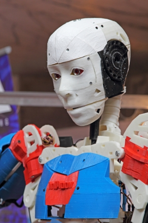 ROME - OCTOBER 06: A cyborg exhibition at the first European Maker Faire Festival on October 06, 2013 in Rome, Italy