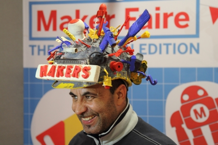 headgear: ROME - OCTOBER 06: A bizarre headgear at the first European Maker Faire Festival on October 06, 2013 in Rome, Italy