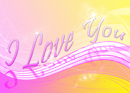 A wave background with twinkles and snowflakes, pink and yellow colors and the text I Love You photo