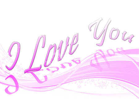 A pink wave background with snowflakes and the text I Love You photo