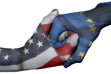 us team: Diplomatic handshake between countries: flags of United States and European Union overprinted the two hands Stock Photo