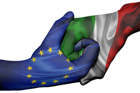 diplomatic: Diplomatic handshake between countries: flags of European Union and Italyoverprinted the two hands