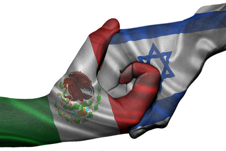 israel people: Diplomatic handshake between countries: flags of Mexico and Israel overprinted the two hands