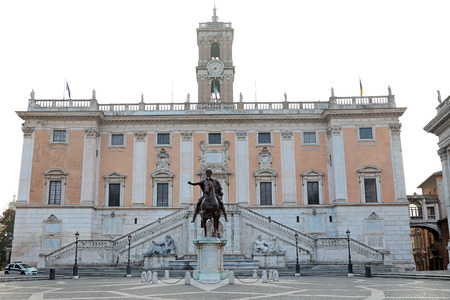 The Palazzo Senatorio of Campidoglio on the Capitoline Hill, seat of local administration of Rome, Italy