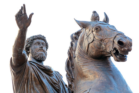 Equestrian statue of Marcus Aurelius in front of Palazzo Senatorio of Campidoglio on the Capitoline Hill, seat of local administration of Rome, Italy