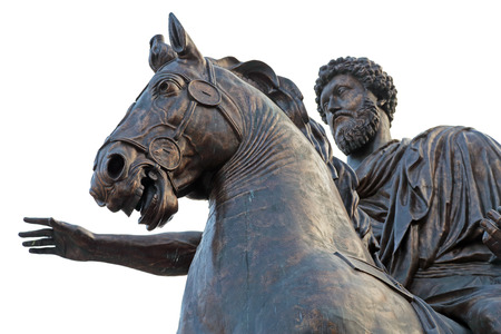 Equestrian statue of Marcus Aurelius on the Capitoline Hill of Rome, Italy