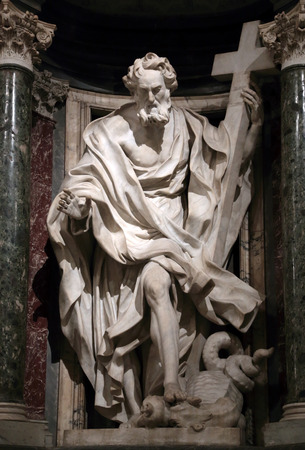 Statue of Philip the apostle into a niche in the Archbasilica of St. John Lateran, Rome Italy Editorial