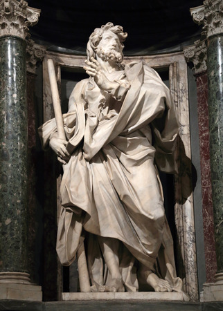 Statue of James the Less the apostle into a niche in the Archbasilica of St. John Lateran, Rome Italy