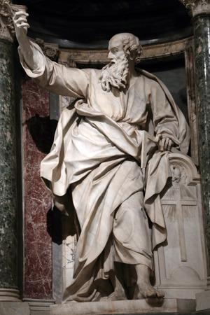 apostle: Statue of Thomas the apostle into a niche in the Archbasilica of St. John Lateran, Rome Italy Editorial