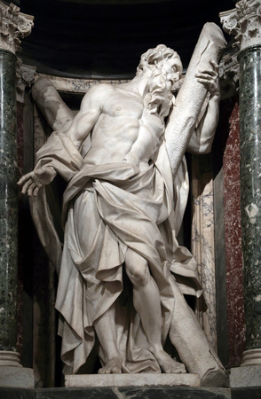 Statue of Andrew the apostle into a niche in the Archbasilica of St. John Lateran, Rome Italy