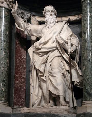 tarsus: Statua di Paolo apostolo in una nicchia nella Basilica di San Giovanni in Laterano, Roma Italia