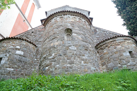 crenelation: A huge towers at the bottom of the Castle of Udine, Italy