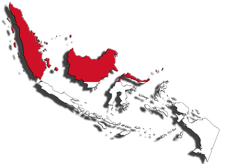 dropping: Outline of national boundary of Indonesia filled with country flag. Isolated on white background and dropping a shadow Stock Photo