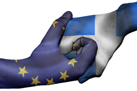 diplomatic: Diplomatic handshake between countries: flags of European Union and Greece overprinted the two hands