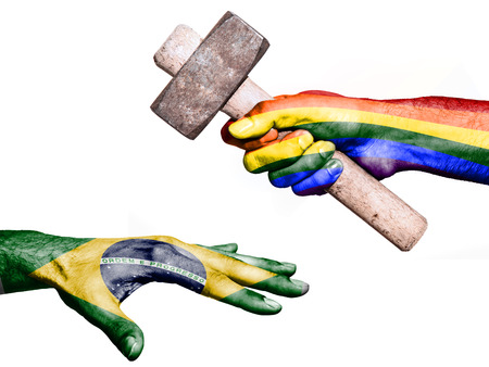 fiscal: Flag of Peace overprinted on a hand holding a heavy hammer hitting a hand representing the Brazil. Conceptual image for political, fiscal or social aggressions, penalties, taxation