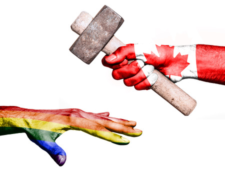 fiscal: Flag of Canada overprinted on a hand holding a heavy hammer hitting a hand representing the Peace. Conceptual image for political, fiscal or social aggressions, penalties, taxation Stock Photo