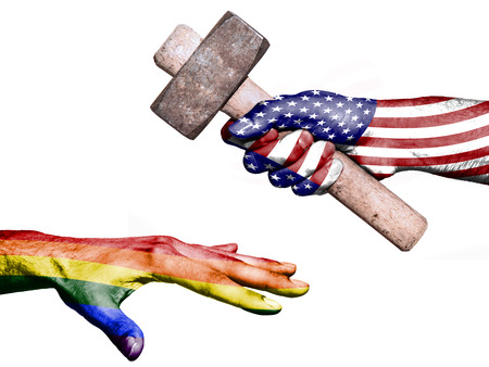 maul: Flag of United States overprinted on a hand holding a heavy hammer hitting a hand representing the Peace. Conceptual image for political, fiscal or social aggressions, penalties, taxation Stock Photo