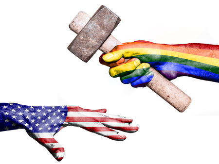 maul: Flag of Peace overprinted on a hand holding a heavy hammer hitting a hand representing the United States. Conceptual image for political, fiscal or social aggressions, penalties, taxation