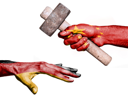 fiscal: Flag of China overprinted on a hand holding a heavy hammer hitting a hand representing the Germany. Conceptual image for political, fiscal or social aggressions, penalties, taxation Stock Photo