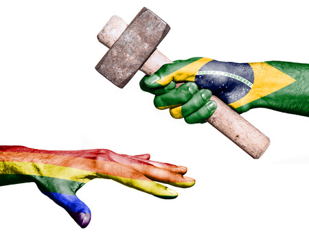 maul: Flag of Brazil overprinted on a hand holding a heavy hammer hitting a hand representing the Peace. Conceptual image for political, fiscal or social aggressions, penalties, taxation Stock Photo
