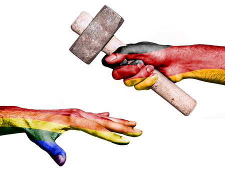 fiscal: Flag of Germany overprinted on a hand holding a heavy hammer hitting a hand representing the Peace. Conceptual image for political, fiscal or social aggressions, penalties, taxation