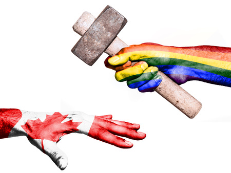 maul: Flag of Peace overprinted on a hand holding a heavy hammer hitting a hand representing the Canada. Conceptual image for political, fiscal or social aggressions, penalties, taxation