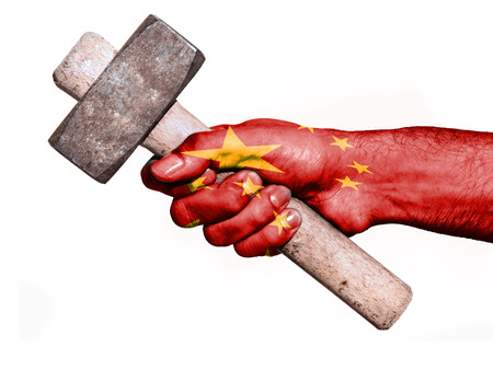 work workman: National flag of China overprinted the hand of a man handling a heavy hammer isolated on a white background. Conceptual image for work, job, workman Stock Photo